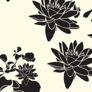 Water Lily prints Black & Cream