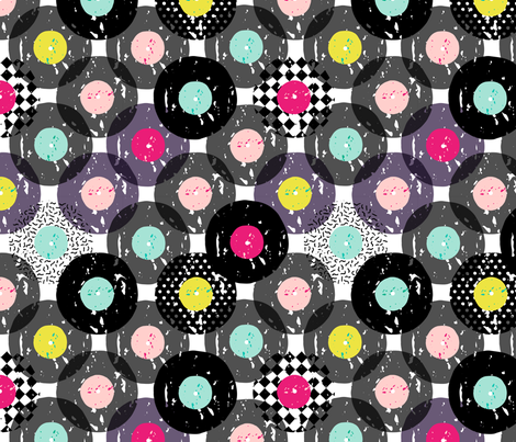 Records polka dot fabric by heleen_vd_thillart on Spoonflower - custom fabric