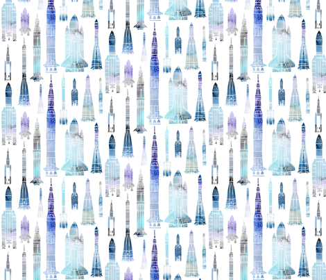 Watercolour Rockets Blue fabric by emeryallardsmith on Spoonflower - custom fabric
