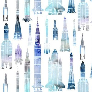 Watercolour Rockets Blue