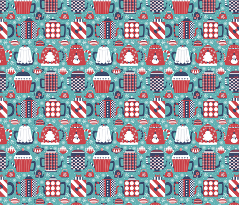 Christmas Teapot fabric by gnoppoletta on Spoonflower - custom fabric