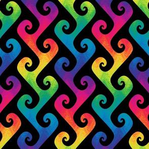 rainbow tendrils on black