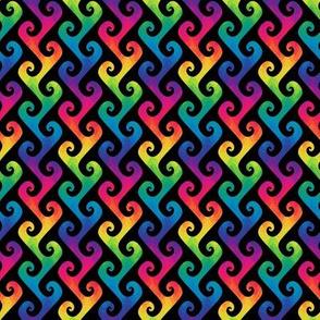 mini rainbow tendrils on black