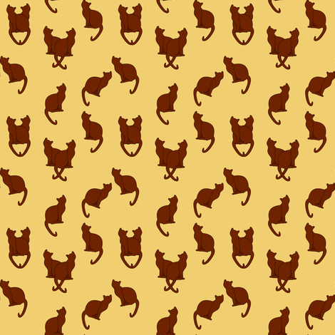 Haunted Brown Cats on Tan fabric by pamelachi on Spoonflower - custom fabric