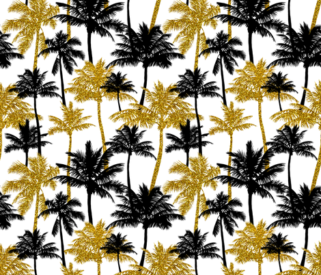 gold glitter palm trees - white, medium. silhuettes golden imitation tropical forest white background summer hot black palm leaves shimmering metal effect texture fabric wallpaper giftwrap  fabric by mirabelleprint on Spoonflower - custom fabric