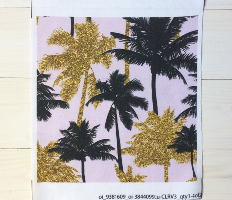 gold glitter palm trees - light pink,  medium. silhuettes golden imitation tropical forest pink background hot summer sunset black palm leaves shimmering metal effect texture fabric wallpaper giftwrap