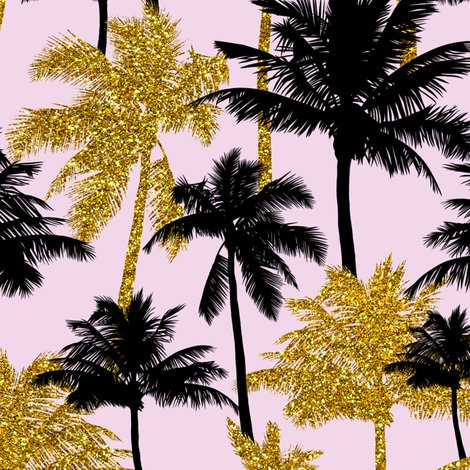Gold Glitter Palm Trees Light Pink Medium Silhuettes