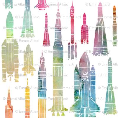 Watercolour Rockets - rainbow