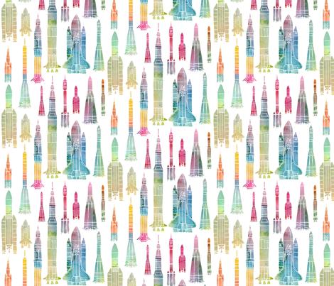 Watercolour Rockets - rainbow fabric by emeryallardsmith on Spoonflower - custom fabric