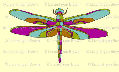Dragonfly Illustration // Yellow