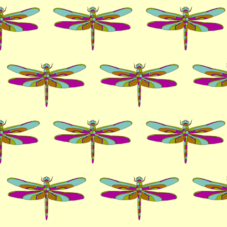 Dragonfly Illustration // Yellow fabric by thinlinetextiles on Spoonflower - custom fabric