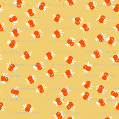 Ditsy Itsy Bitsy Spiders Orange and Tan