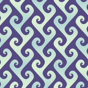 mint and blue tendrils on purple