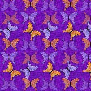 Orange, Purple, Blue Butterflies