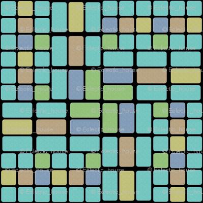 Confused Bricks in Aqua, Sage, Sand and Slate