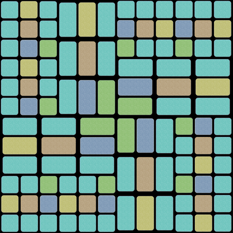 Confused Bricks in Aqua, Sage, Sand and Slate fabric by eclectic_house on Spoonflower - custom fabric
