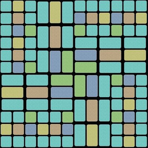 Confused Bricks in Aqua, Sage, Sand and Slate