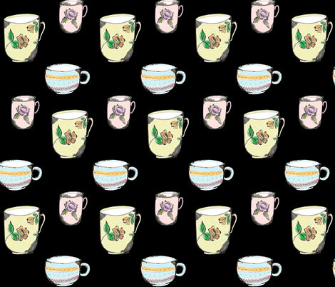 3_cups_of_tea_black fabric by jennifer_rizzo on Spoonflower - custom fabric