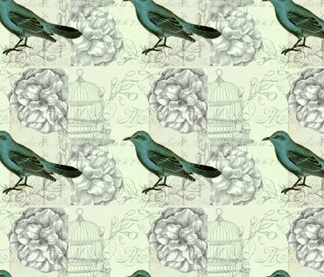 Correspondence bird fabric by jennifer_rizzo on Spoonflower - custom fabric