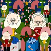 Santa, Candy Canes & Presents Christmas Fabric #7