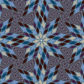 Star of Diamonds and Pinwheels in Colonial Blues