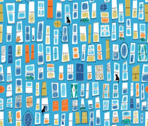 Windows on Blue fabric by vinpauld on Spoonflower - custom fabric