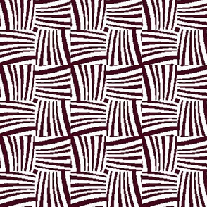 Woven Strands in Maroon and White