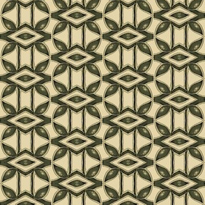 Leaves and Abstract Elements in Green and Cream