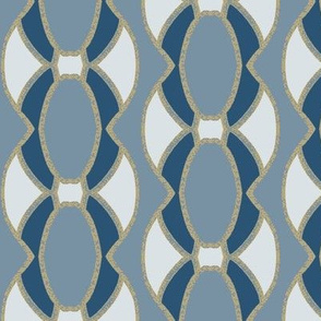 Oval Abstract Elements Forming a Vertical Pattern in Blues