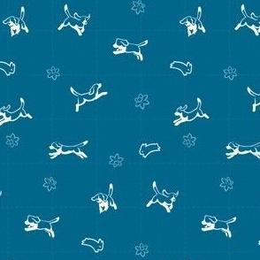 Beagles, Bunnies & Daffodils on Blue