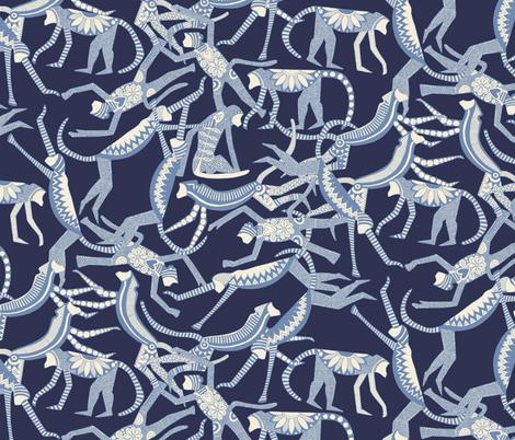 monkey blue fabric by scrummy on Spoonflower - custom fabric