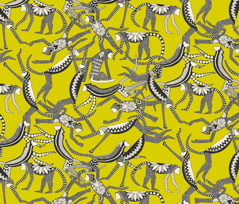 monkey chartreuse fabric by scrummy on Spoonflower - custom fabric