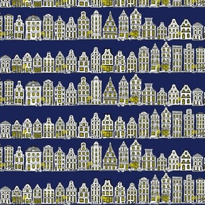 Amsterdam Row Houses (Dark Blue)