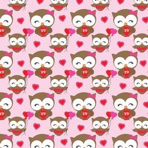 Pink Valentine Owls