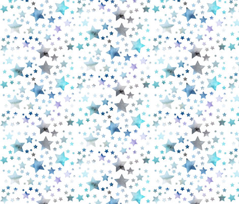 Stars - watercolour blue fabric by emeryallardsmith on Spoonflower - custom fabric