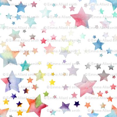 Stars - watercolour rainbow