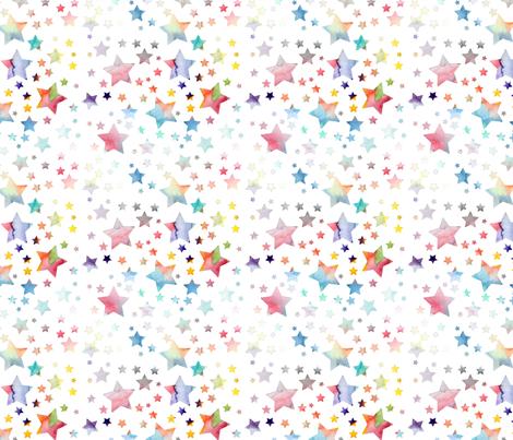 Stars - watercolour rainbow fabric by emmaallardsmith on Spoonflower - custom fabric