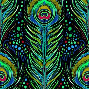 nouveau peacock feathers in neon