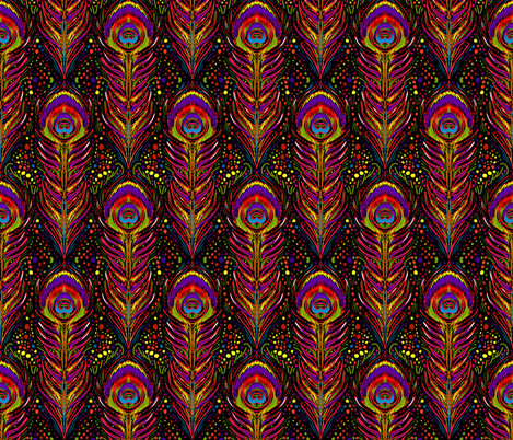 nouveau peacock feathers in vivid fabric by beesocks on Spoonflower - custom fabric