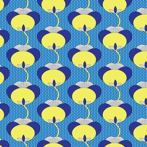 15-07 Opening Tulips Blue Yellow_Miss Chiff Designs fabric by misschiffdesigns on Spoonflower - custom fabric