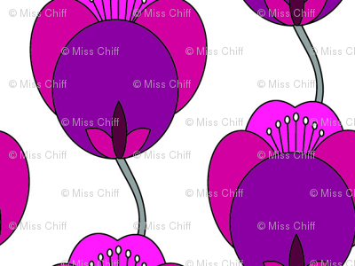 Modern Tulip Floral  || Small Flower Hot Pink Purple Plum Lilac Japan Asian _Miss Chiff Designs