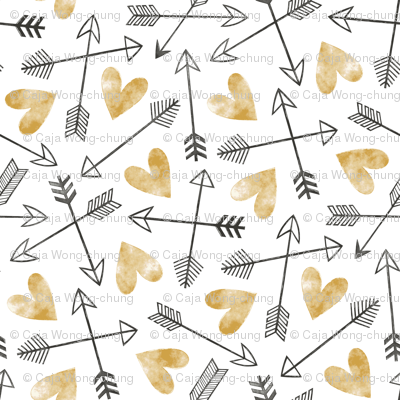 Arrows and Watercolor Hearts Love Valentine Gold