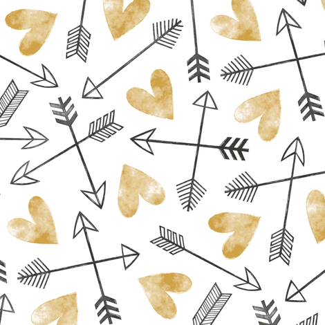 Arrows and Watercolor Hearts Love Valentine Gold fabric by caja_design on Spoonflower - custom fabric