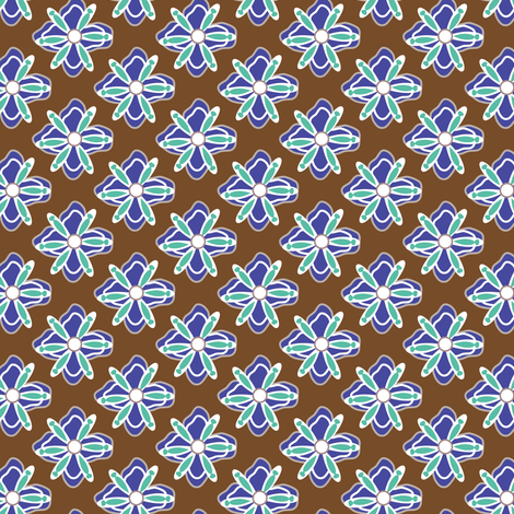 16-02z Mint & Blue Floral || Home Decor Geometric flower Floral Botanical Chocolate Brown_Miss Chiff Designs fabric by misschiffdesigns on Spoonflower - custom fabric