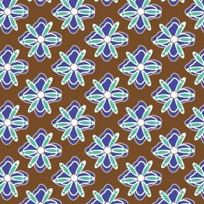 16-02z Mint & Blue Floral || Home Decor Geometric flower Floral Botanical Chocolate Brown_Miss Chiff Designs