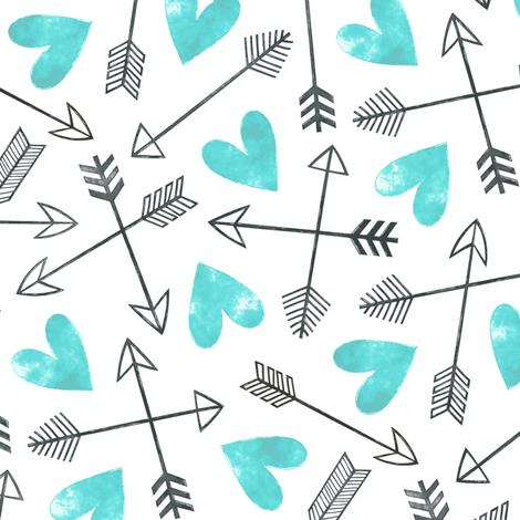 Arrows and Watercolor Hearts Love Valentine Aqua fabric by caja_design on Spoonflower - custom fabric
