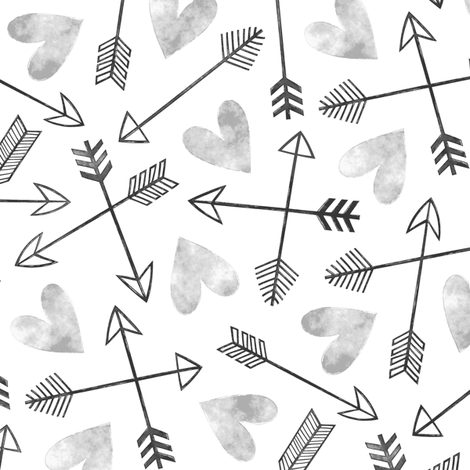 Arrows and Watercolor Hearts Love Valentine Black&White Grey fabric by caja_design on Spoonflower - custom fabric