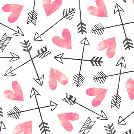 Arrows and Watercolor Hearts Love Valentine Pink fabric by caja_design on Spoonflower - custom fabric