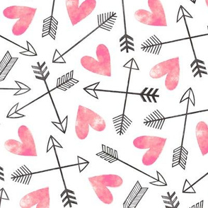 Arrows and Watercolor Hearts Love Valentine Pink