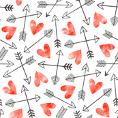 Arrows and Watercolor Hearts Love Valentine Red